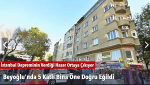 Beyoğlu'nda 5 Katlı Bina Öne Doğru Eğildi