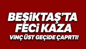 Beşiktaş Barbaros Bulvarı'nda bulunan üst geçide vinç çarptı