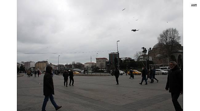 """Polisten vatandaşlara drone ile """"evde kalın"""" uyarısı"""