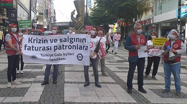 Marmara Caddesi'nde DİSK'e bağlı Gıda-İş'ten yürüyüş