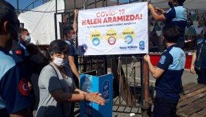 Eyüpsultan'da pazar yerlerinde koronavirüs tedbirleri hat safhada
