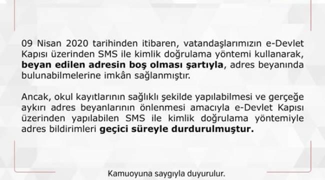 """""""Okul Kayıt Döneminde 'Adres Bildirimi' Durduruldu"""""""
