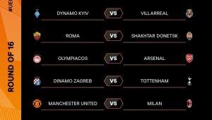 UEFA Avrupa Ligi Son 16 Turu'nda eşleşmeler belli oldu