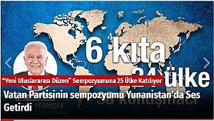 Vatan Partisinin sempozyumu Yunanistan'da Ses Getirdi