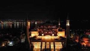 Ayasofya Camii, Kadir Gecesi'nde Mahya İle Buluştu