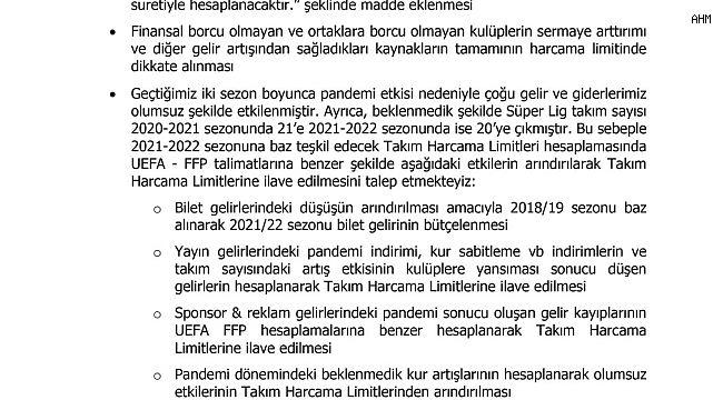 Kulüpler Birliği, en az 2 sezon daha Süper Lig'in 20 takımla devam etmesi yönündeki talebini TFF'ye iletti.