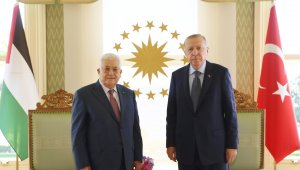 Cumhurbaşkanı Erdoğan, Filistin Devlet Başkanı Mahmud Abbas'la görüştü