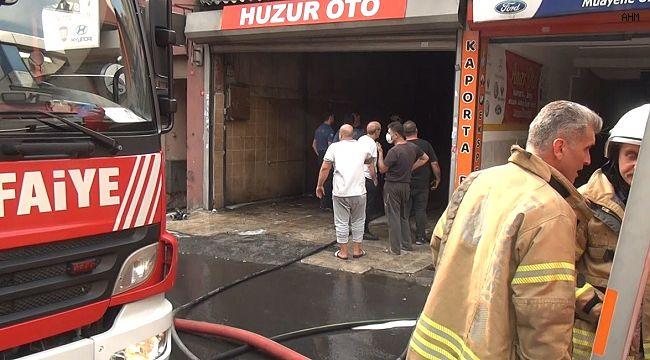 Şişli'de iş yeri yangını sırasında esnaf kediyi kurtardı
