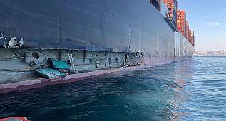 Ambarlı Limanı'nda iskeleye çarpan gemi havadan görüntülendi