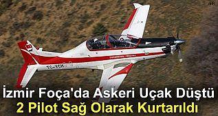 İzmir Foça'da askeri uçak düştü, 2 pilot sağ olarak kurtarıldı